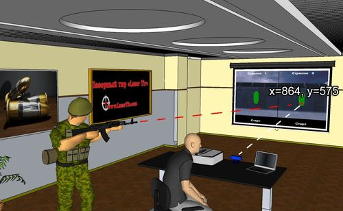 Principle of operation of laser shooting gallery